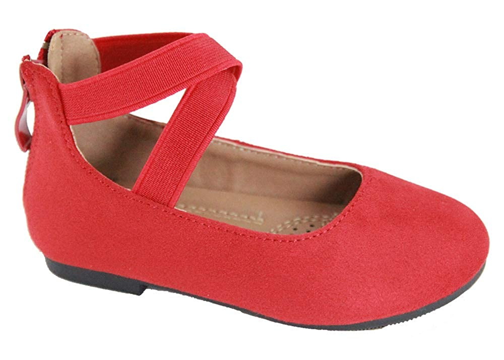 Blue Lemon Girls Ballerina Flat Shoes with Elastic Crossing Straps