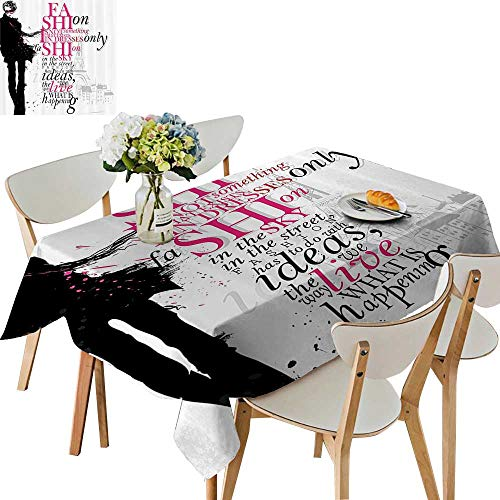 UHOO2018 Decorative Tablecloth Woman with Elegant Shawl Paris in Autumn Inspiratial Vogue Theme Square/Rectangle Kitchen Tablecloth Picnic Cloth,50 -
