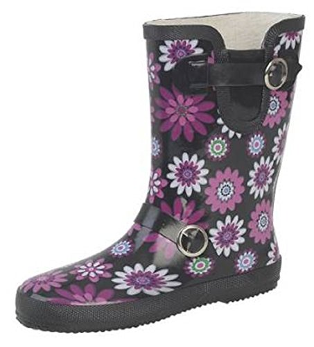 Ladies Short Leg Buckle/Strap Wellies, Wider-Calf Fitting Floral