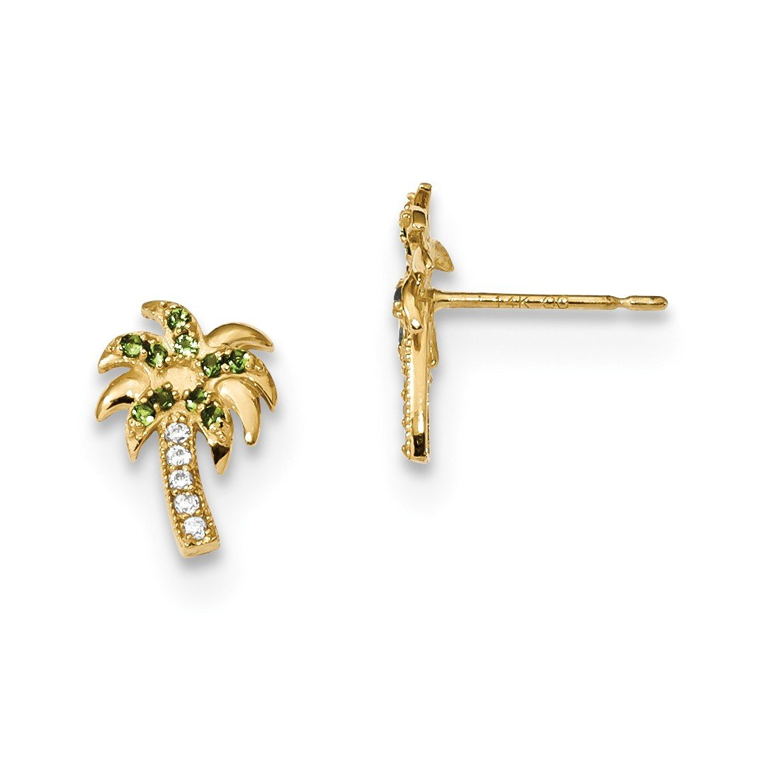 ICE CARATS 14k Yellow Gold Green Clear Cubic Zirconia Cz Palm Tree Post Stud Ball Button Earrings Fine Jewelry Ideal Mothers Day Gifts For Mom Women Gift Set From Heart