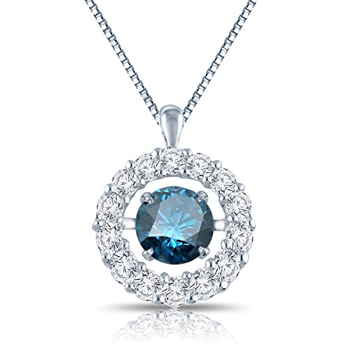 Diamond Wish 14k White Gold Dancing Blue Diamond In Rhythm Circle Halo Pendant Necklace (1 cttw, Blue) with 18