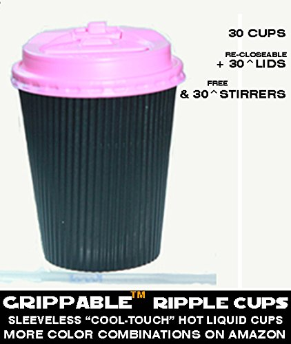 GRIPPABLE? RIPPLE INSULATED HOT/COLD DRINK 12OZ CUPS, LIDS & STIRRERS Disposable 30PAK - LOCTITE RECLOSEABLE TAB LIDS - GRIP Easy - NO LEAKS, NO SLEEVES - ECO-SMART - HOME OFFICE BANQUETS