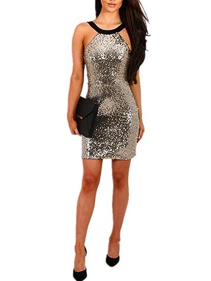 16ef0248c58 Amazon.com  Xuan2Xuan3 Women Sexy Sequins Backless Club Party Bodycon Mini  Dress  Clothing