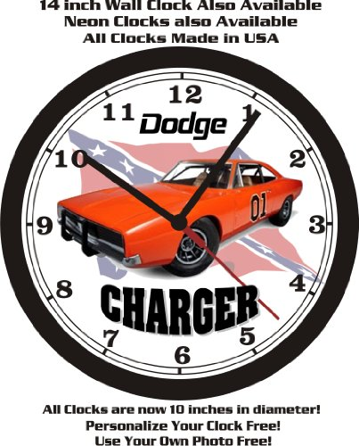 1969 DODGE CHARGER GENERAL LEE WALL CLOCK-FREE USA SHIP!-DUKES OF HAZARD