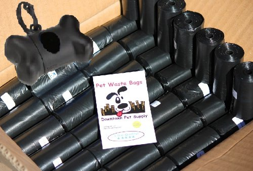 960 Pet Waste Bags, Dog Waste Bags, Bulk Poop Bags on a roll, Clean up poop bag refills – (Color: Black) + FREE Bone Dispenser by Pet Supply City LLC, My Pet Supplies
