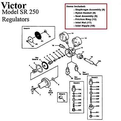 Victor SR250D SR250C Regulator Rebuild/Repair Parts Kit INCLUDES BOTTLE FITTINGS