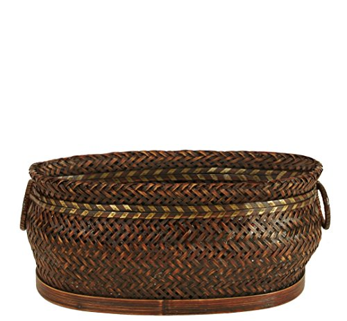 "Wald Imports Brown Bamboo 13.75"" Decorative Storage Basket - Oval container Herringbone weave basket with decorative metal band Ring handles - living-room-decor, living-room, baskets-storage - 51tUQLEZBBL -"