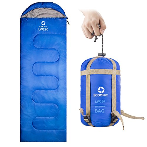 60f Polyester (ECOOPRO Sleeping Bag 60F/15C– Single Envelope Lightweight Portable Waterproof&Compact with Compression Sack- Outdoor Camping, Backpacking&Hiking -Great for 4 Season Sleeping Bag Blue)