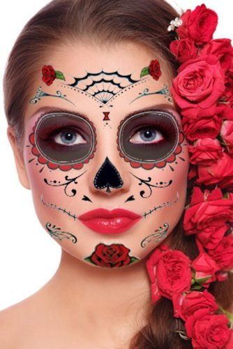 [Red Roses Day of the Dead Sugar Skull Temporary Face Tattoo Kit - Pack of 2 Kits] (Sugar Skulls Makeup)