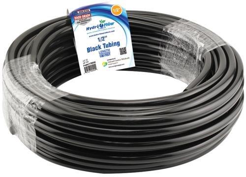 Hydro Flow 100 ft Roll Vinyl Tubing, Black - 1/2