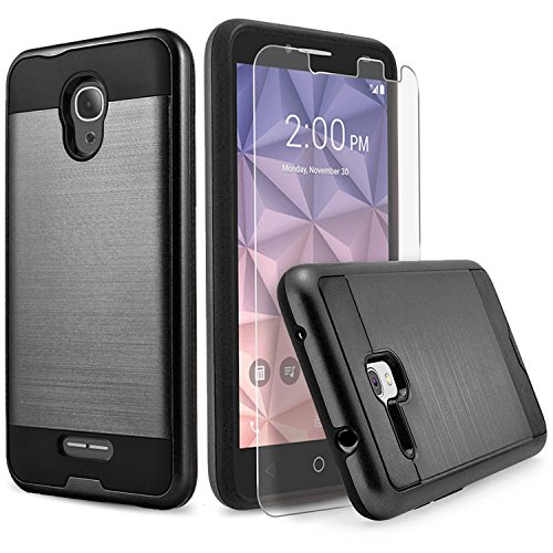 Alcatel IdealXcite Case, Alcatel Raven LTE (A574BL) Case, Alcatel Verso/CameoX Case, Circlemalls Shockproof Phone Cover With [Tempered Glass Screen Protector] And Stylus Pen (Black)
