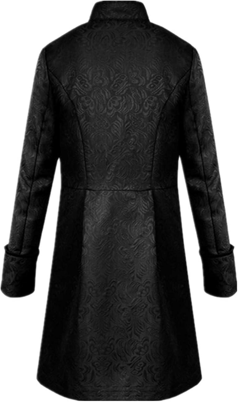 Crubelon Men's Steampunk Vintage Tailcoat Jacket Gothic Victorian Frock Coat Uniform Halloween Costume: Clothing