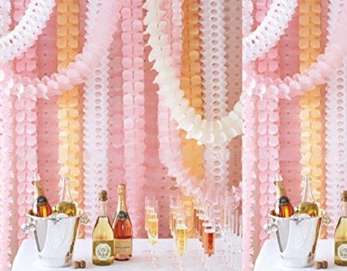 6 Pieces 11.8 Feet 4-Leaf Hanging Clover Garland Tissue Paper Flowers Garland Reusable Party Streamers for Party Decorations Wedding Decorations (Pink)