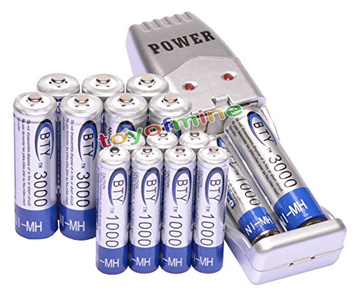 8 AA + 8 AAA 1000mAh 3000mAh 1.2V NI-MH BTY Rechargeable Battery + USB Charger