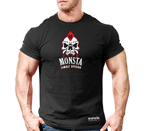 Men's Workout T-Shirt Flash-CSS: Monsta Combat-Center-110 (Black, (Division Womens V-neck)