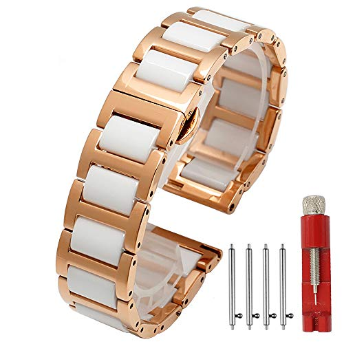 Ceramic Watch Band Replacement Stainless Steel Watch Bracelet Deployment Clasp Metal Watch Strap for Men Women 16mm/18mm/20mm/22mm (22mm, Rose+White)