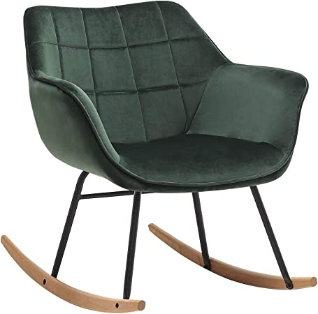 Duhome Schaukelstuhl gesteppt Schaukelsessel Schwingsessel gepolstert Relax Sessel Gestell Metall Holz, Farbe:Dunkelgrün, Material:Samt