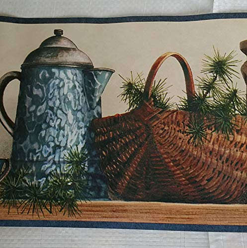 (Country Shelf Baskets Ducks Pottery Kitchen Laundry Wallpaper Border)