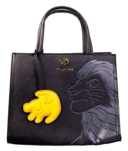 9399dfa8612 Loungefly x Disney Lion King, Simba Crossbody Tote with Symbol Charm,  Embossed Black on Black with Gold Details  Amazon.co.uk  Shoes   Bags