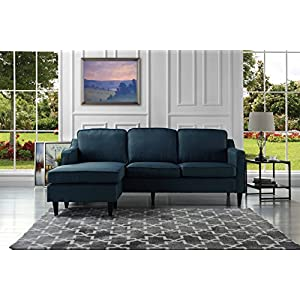 Mid-Century Modern Linen Fabric Sectional Sofa, Reversible L-Shape Couch