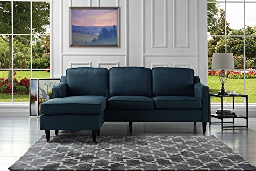 Mid-Century Modern Linen Fabric Sectional Sofa, Reversible L-Shape Couch (Polo Blue)