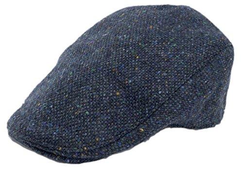 Hanna Hats Men's Donegal Tweed Donegal Touring Cap Ocean Blue Salt & Pepper Large