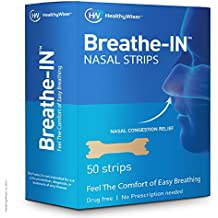 Breathe-IN™ Nasal Strips – Drug-Free Nasal Congestion Relief & Improved Breathing, Soft & Comfortable, Blocked Nose Strips For Men & Women, For Snoring, Common Cold & Allergies 50ct
