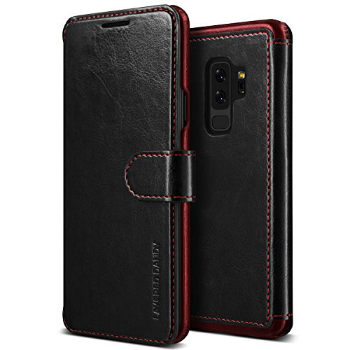 Galaxy S9 Plus Wallet Case :: VRS :: Drop Protection Cover :: Classy Slim Leather Wallet:: ID Credit Card Slot Holder for Samsung Galaxy S9 Plus (Layered Dandy - Black)