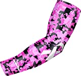 COOLOMG (1 Piece Ribbon Breast Cancer Awareness Arm Sleeve Basketball Baseball Football Youth Adult Pink S