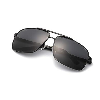 MuJaJa Gafas de sol Hombre moda Metal Marco con las Bisagras del Resorte para Deportes al aire libre Gafas de sol -100% Protección UVA/UVB