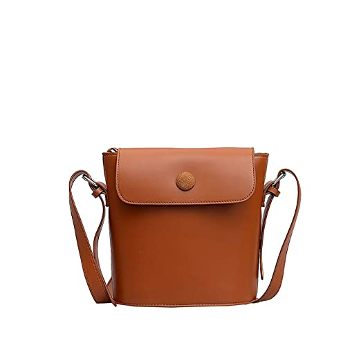 63bf2a566b Amazon.com  JJLIKER Flap Leather Bucket Bag Waterproof Crossbody Shoulder  Bag Fashion Simple Wild Satchel Tote Brown  Clothing