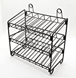 FixtureDisplays 11.8'' x 12.5'' x 6.0'' 3-Tier Countertop Wire Rack, 4 Rows per Shelf, Sign Clip, Black 19393