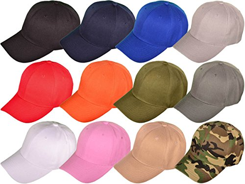 Mid Profile 6 Panel (BK Caps Wholesale Dozen Pack 6 Panel Mid Profile Blank Baseball Caps (Assorted))