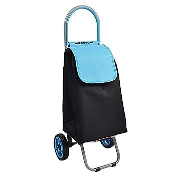 Carritos de la compra Carro de Compras Carro de Equipaje Carro de supermercado Pasado de Moda Carro de Compras de Aluminio Elegante Carro Azul Plegable ...