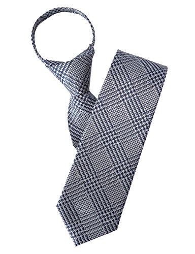 H2H Mens Casual Comfortable Zipper Check Patterned Dress Neck Tie NAVY NONE (KMANT0143)