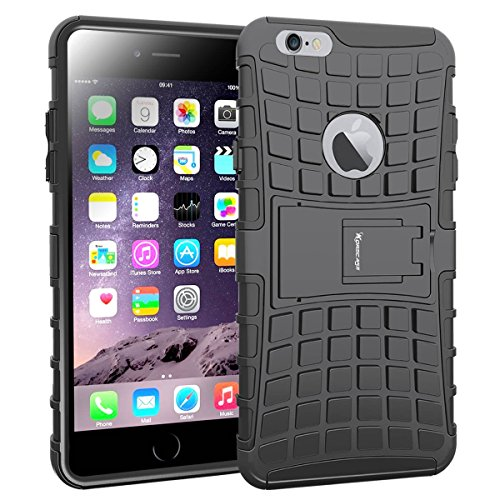iPhone 6S Plus Case,[Armor Tire] Heavy Duty Protection Rugged Hybrid Dual Layer Shockproof Case Protective Cover for Apple iPhone 6 Plus and 6S Plus 5.5 Inches with Built-in Kickstand (Black) (Black)