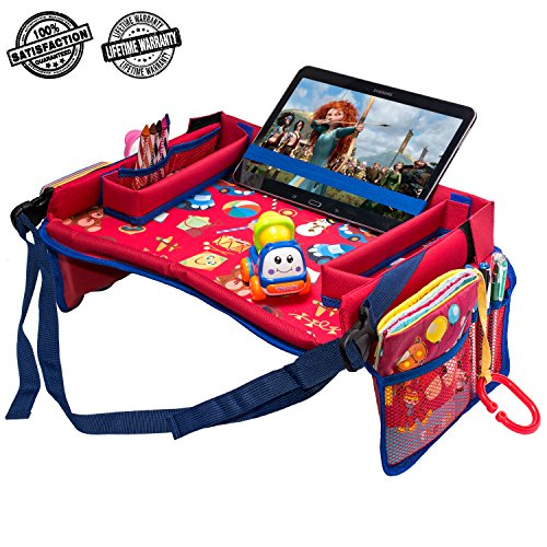 Toddler Car Seat Travel Tray by DMoose (16-Inch-by-12-Inch)  Toy Organizer, Tablet Holder, Reinforced Surface, Sturdy Base &Side Walls, Strong Buckles, Crayon Organizer, Mesh Pockets  Waterproof