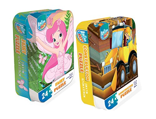 (Two 24 Piece Jigsaw Puzzle Set for Kids Ages 3+ Jigsaw Puzzles for Kids. Fairy & Construction Designs)