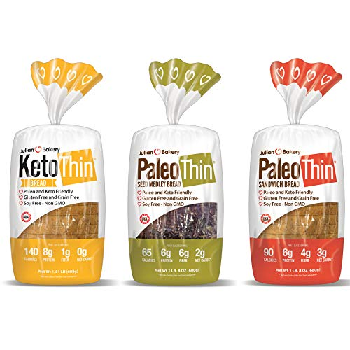 Keto | Paleo Thin | Bread (Variety) Low Carb, Gluten-Free, Grain-Free (From 0 Net Carbs) (3 Pack)
