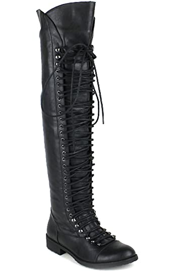 c71ae691570 Riplay FAUX LEATHER SIDE ZIPPER OVER THE KNEE HIGH BOOTS 6 BLACK