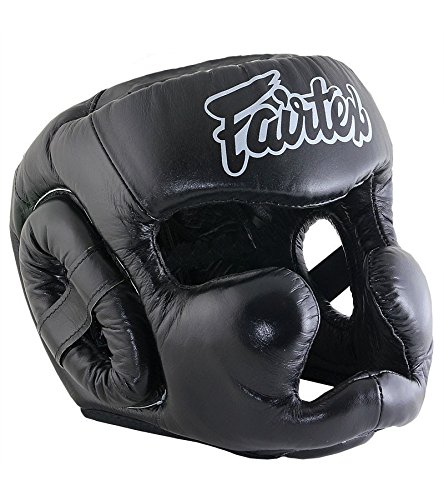 Fairtex HG13 Head Guard - Full Head Cover Version for Boxing Muay Thai MMA (Black/Black, M)