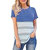 〓COOlCCI〓 Womens Long/Short Sleeve Round Neck T Shirts Color Block Striped Casual Blouses Tops Blue