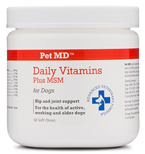 Pet MD - Dog Vitamins Plus MSM - Daily Multivitamin with Joint Health Support - Soft Chews - 60 Count