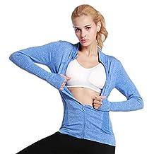 Women Sweat Shirts Workout Running Yoga Slim Zipper with Two Side Pocket Jacket