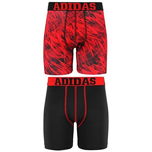 adidas Boys Sport Performance Climalite Boxer Brief Underwear (2 Pack), Draven Red/Black, Large by adidas