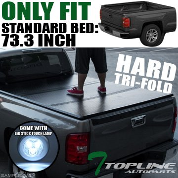 Super Cab 6' Box - Topline Autopart Solid Tri Fold Hard Truck Bed Tonneau Cover With LED Touch Lamp JR For 05-17 Nissan Frontier ; 09-12 Suzuki Equator King (Extended)/Crew Cab 6 Feet (72