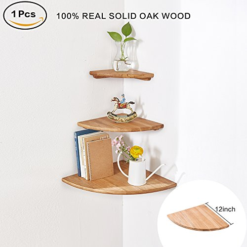 Decor Bookshelf Pot Rack - INMAN Wooden Corner Shelf, 1 Pcs Round End Hanging Wall Mount Floating Shelves Storage Shelving Table Bookshelf Drawers Display Racks Bedroom Office Home Décor Accents (Oak, 12