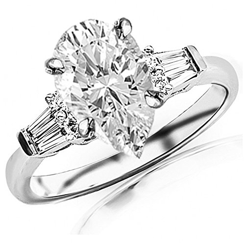 0.85 Ctw 14K White Gold Prong Set Round And Baguette Engagement Ring w/Pear 0.5 Carat Forever One Moissanite Center