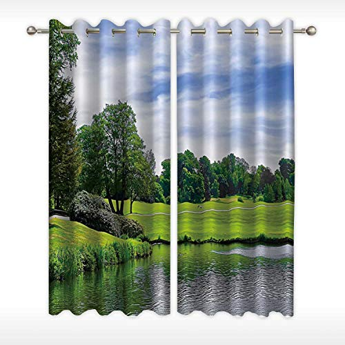 MOOCOM Pond and Park Near Leeds Castle in Kent Soft Window Curtain,108737 for Nursery,58''W x 54''H (Christmas Castle Leeds Kent)