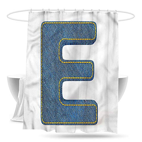 Shower Curtain with Hooks Letter E Denim Blue Jeans E Bathroom Curtain Washable Polyester 70in×70in (Blue Jean Teddy Curtain)